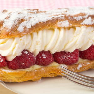 Raspberry Eclairs filled with Yolá Whipped Yogurt Topping